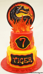 Mortal Kombat Dragon Theme Cake!! #mortalkombatdragons #fondantfire # Fondantdragonname 01
