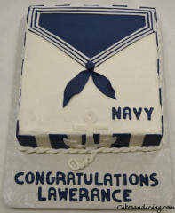 Navy Sailor Collar With Anchor Graduation Theme Cake
