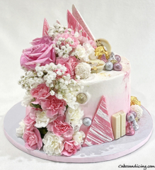 Not So Simple , Yet Elegant And Chic ! Birthday Cake For The Ones Who Love Flowers And Chocolates , Pink And Girly !!! #freshflowers #carnations #chocolates #pinkandwhite 01