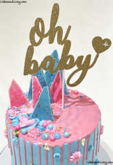 Ohhhhh Baby, Let's Reveal It !! He Or She , Open To See !!! #genderreveal #genderrevealcake #heorshe #heorshewhatwillitbe #blue #pink #ohbaby #customtopper 02