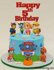 Paw Patrol Cake #pawpatrol #pawpatrolbirthday #kidsbirthdaycake #paws #chocolatechipcake #dogbones #dogbowl #dogpaws 21