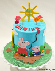 Peppa Pig Theme Cake #peppapig #peppapigcake #kidsbirthdaycake #fondantsunandhouse #fondantpeppapig #mummypig #georgepigparty #georgepig 01