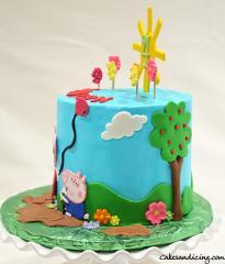 Peppa Pig Theme Cake #peppapig #peppapigcake #kidsbirthdaycake #fondantsunandhouse #fondantpeppapig #mummypig #georgepigparty #georgepig 02
