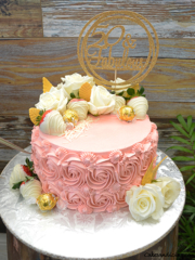 Petal Pink Rosettes And Fresh White Rose Theme Cake #whitechocolatedippedstrawberries #handmadegoldleaves #freshwhiteroses #lindtlindor #marblecake #vintage #fiftyandfabulous