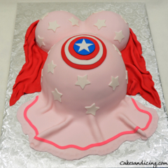 Pregnant Belly Theme Cake #bellybumpcake #captainamericashield #fondantpinkdress 01