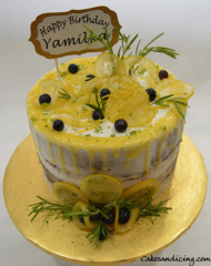 Refreshing Lemon Naked Cake With Homemade Candied Lemons Theme Cake