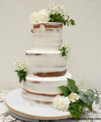 Semi Naked Cake 3tieredcake Weddingreception Freshflowersandleaves Rusticweddingcake