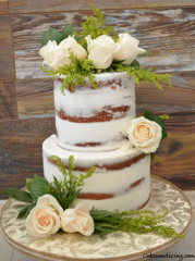 Semi Naked Cake With Fresh Flowers! #freshroses #freshgreens #seminakedcake 01