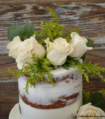 Semi Naked Cake With Fresh Flowers! #freshroses #freshgreens #seminakedcake 02