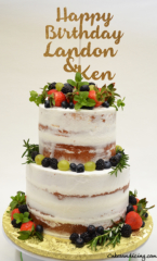 Semi Naked Two Tiered Cake #freshberries#grapes#mintandrosemary#vintageandsimple 001