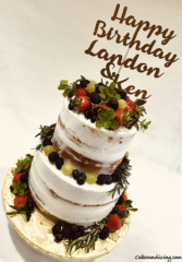 Semi Naked Two Tiered Cake #freshberries#grapes#mintandrosemary#vintageandsimple 002