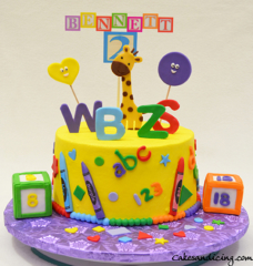 Shapes Numbers Alphabets Colors And A Giraffe Cake Fun Kids Birthday #numbers #alphabets #kidsblocks #crayons #colors #shapes #kidsbirthdaycake #fondantgiraffe