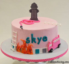 Sound The Alarm Babyshower Theme Cake #fondantpinkfiretruck #fonfantfireandladde#firehydrant #firefighterthemecake