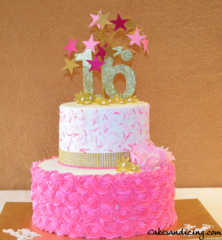 Specal Occasion Sweet 16 Bday Theme Cake