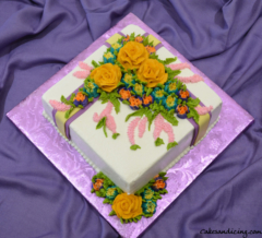 Special Ocassion Bouquet Of Flowers Theme Cake