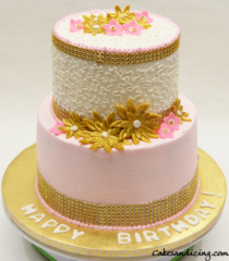 Special Occasions Bridal Shower And Bday Pink White Gold Theme Cake 01