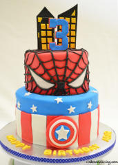 Spider Man And Captain America Theme Cake