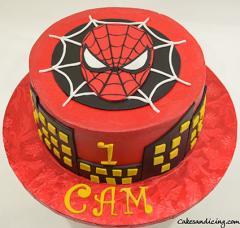 Spider Man Theme Cake #spiderman #spidermancake #friendlyneighbourhoodspiderman #kidsbirthdaycakes #fondantspidermanface 01