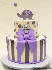 Stripes And Polka Dots Cake #babyshowercake #fondantelephantandballoonballoon