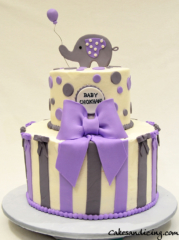 Stripes And Polka Dots Cake #babyshowercake #fondantelephantandballoonballoon