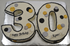 Three Zero 30 Shaped Birthday Theme Cake