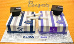 Tis The Season Of Graduation #classof2019cake #graduation #graduationcake #lonestarhighschool #nyu #nyutandon #fondantdiplomas #fondantgraduationhat