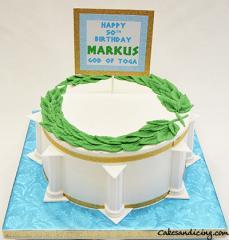 Toga Party Cake #togapartycake #toga #greekcake #fondantleafcrown #goldwhiteandblue #strawberrycake