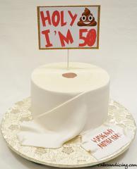 Toilet Paper Theme Cake #holycrap #50#poopemoji #wipingawayanotheryear 10