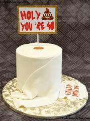 Toilet Paper Theme Cake #holycrap #holyshit #40 #poopemoji #wipingawayanotheryear 01