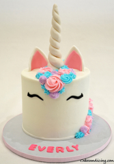 Unicorn Theme Cake #unicorn #unicorncake #unicornbirthdayparty #buttercream #unicornear #unicornhorn 01