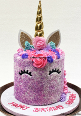 Unicorn Theme Cake #unicorncake #unicornbirthdaycake #multicolorsugardecoration #buttercreamflowers #unicornmane #chocolatechipcake #girlbirthdaycake 01