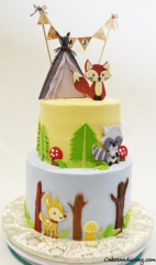 Woodland Animals Baby Shower Theme Cake