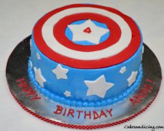 Kids Bday Captain America Theme Cake